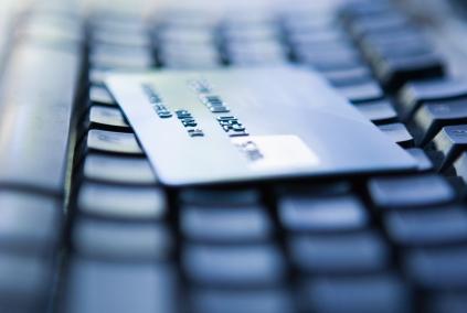 Debit card on keyboard