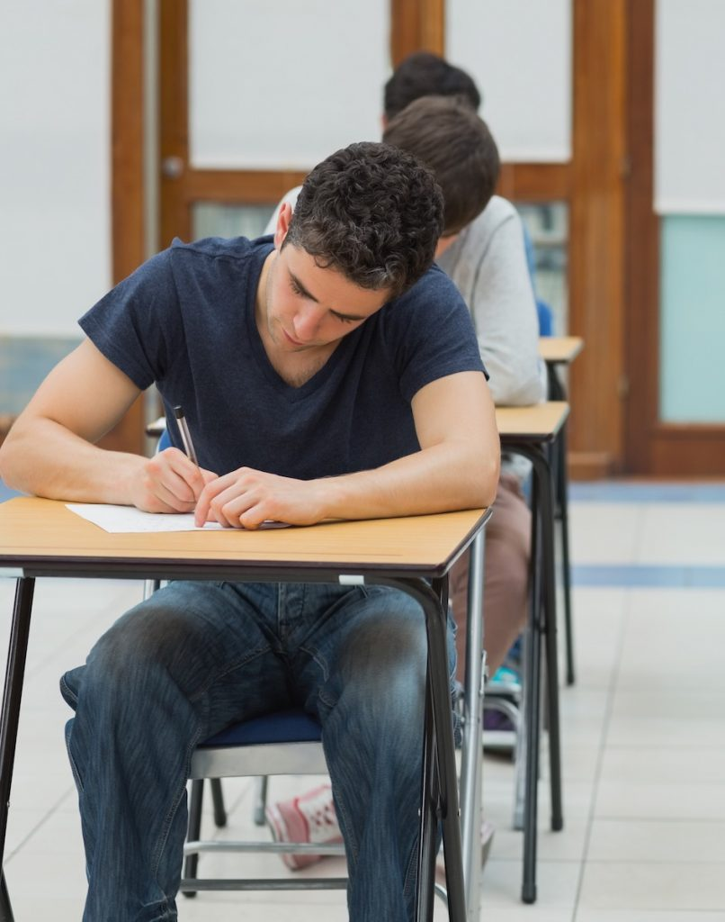 students sitting exam