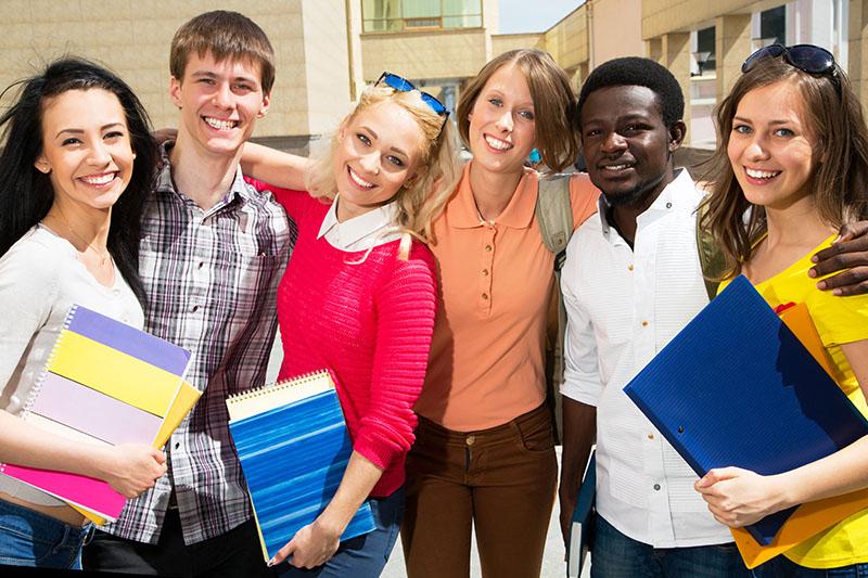 Happy multi-cultural students